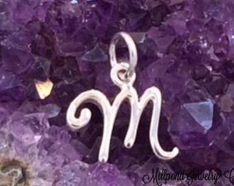 Alphabet Charm, Letter Charm, M Charm, Letter M Charm, Script Letter Charm, Sterling Silver Charm, PS01137
