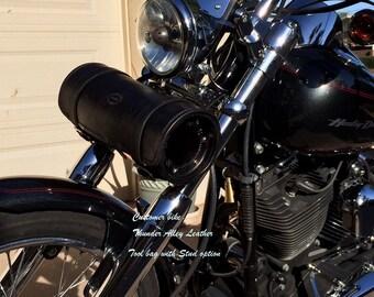 Hand tooled black leather motorcycle tool bag, fork bag, frame bag