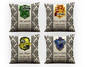 Set of 4 Harry Potter Gryffindor Slytherin Ravenclaw Hufflepuff Hogwarts, House Crest, Rowling, Sofa Throw Pillow, birthday wishes, geek