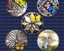 Stained Glass digital collage sheet, 16mm, 18mm and 20mm round circle images - beveled glass, butterflies - 36 designs download