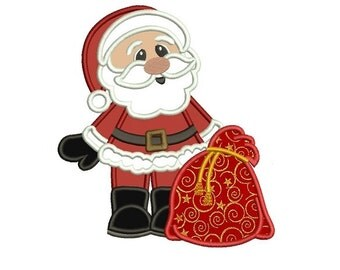 Santa With Gifts Christmas Applique Machine Embroidery Digitized Design Pattern - instant download - 4x4 , 5x7, and 6x10 -hoops