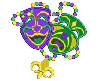 Mardi Gras Happy and Sad Theater Mask Applique Machine Embroidery Digitized Design Pattern