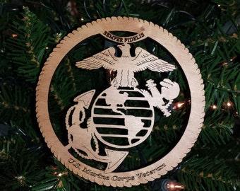 Christmas Ornament US Marine Corps Veteran Holiday Ornament Laser Cut