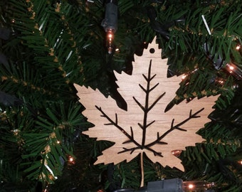 Maple Leaf Ornament Christmas Holiday Ornament Laser Cut Decoration Wood