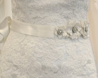 Wedding Belt Sash with Vintage Inspired beaded flowers