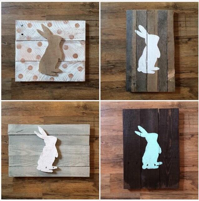 Easter decor bunny silhouette pallet decor home decor for Rabbit decorations home