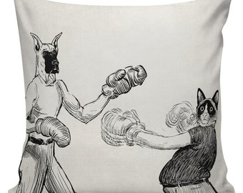 Boxing Dog and Cat Pillow Cover Cotton Canvas Throw Pillow 18 inch square Hipster #UE0083 Urban Elliott