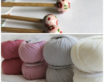 DMC Knitting Kit including Bamboo Knitting Needles, 40 cm long (15 inch aprox) + 8 skeins of yarn in the colours of you choice