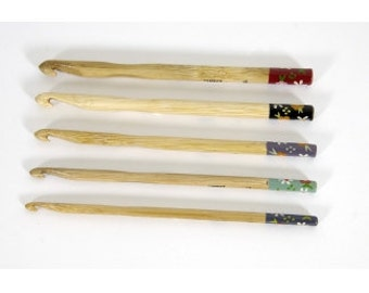 Set of 5 Bamboo XL Crochet Hooks - sizes 6 to 10 - Hand Painted