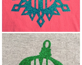 Winter Glitter Iron On Monogram Decal