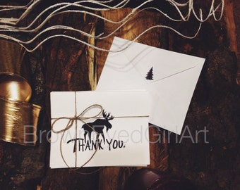 Hand drawn set of winter Moose Thank You greeting cards
