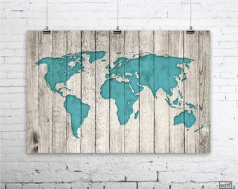 World map poster etsy rustic world map poster large map of the world turquoise map on wood look gumiabroncs Image collections