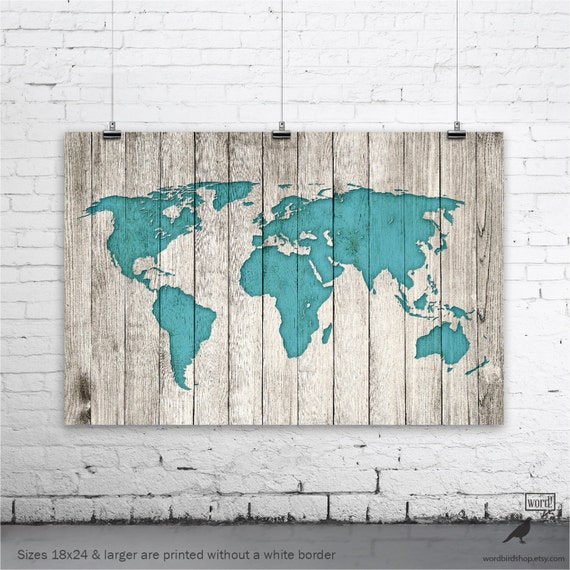 Rustic World Map Poster Large Map of the World Turquoise Map
