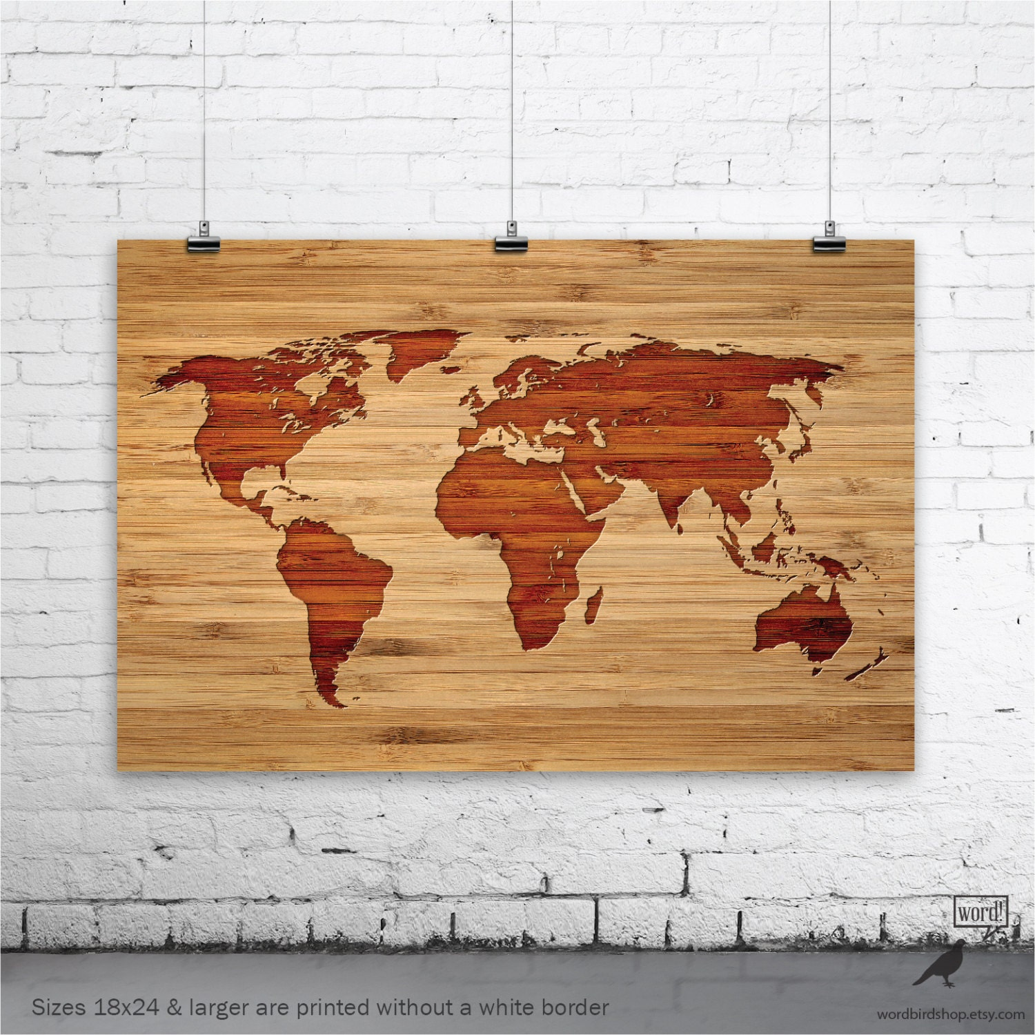World Map Wood Wall Art bamboo world map poster faux wood world map carved wood