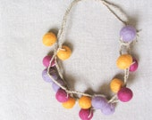 Lilac Fuchsia Yellow Gold Wrap Necklace Wool Statement Necklace Felt Bead Felt Wool Jewelry Fiber Necklace Eco-friendly