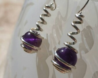 Dark Amethyst & Sterling Silver Wire Spiral Wrapped Caged Dangle Earrings