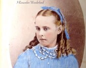 Alice in Blue / Striking Alice in Wonderland resemblance, lookalike photo / blue dress & blonde ringlets / Antique 1860s hand tinted CDV