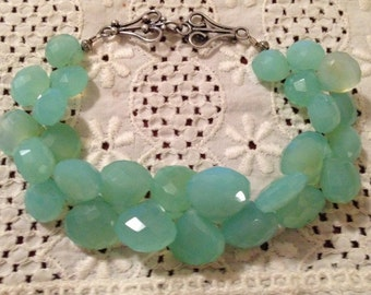 Handcrafted Faceted Briolette Aqua Blue Chalcedony Bracelet