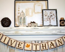 GIVE THANKS BANNER Rustic Banner Thanksgiving Banner Fall Colors Banners Thankful Fall Decoration