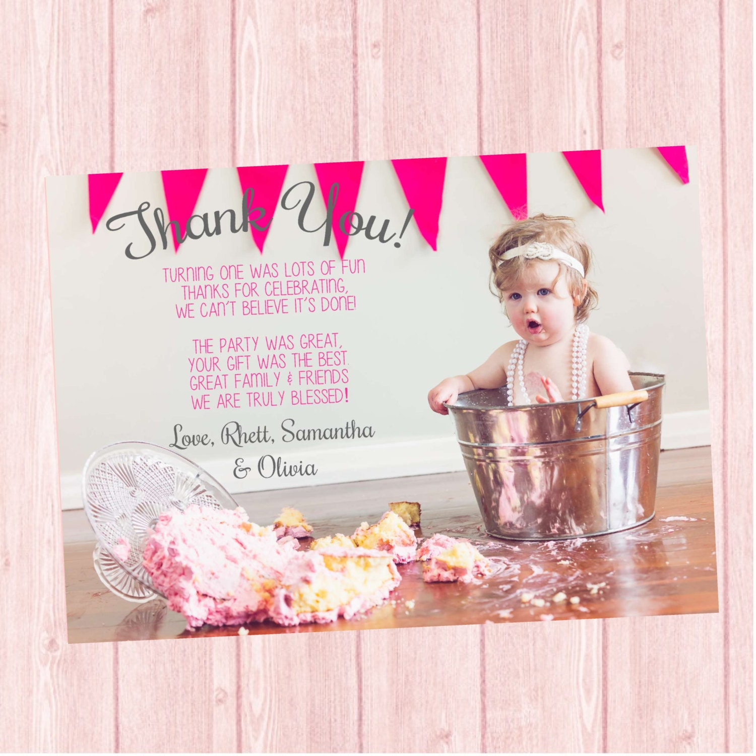 First Birthday Thank You Card Smash Cake By TwistedSisterShop