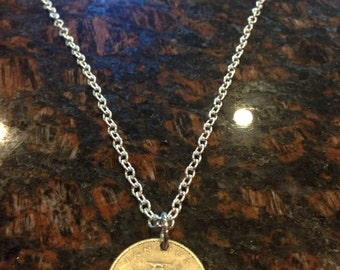 Jamaica 10 cents coin necklace