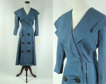 NOS 40's Cobalt Blue Sailor Collar Dress