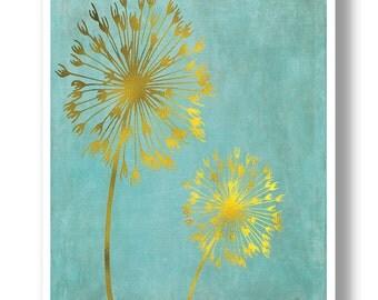 Gold Dandelion Art print, Faux Gold Foil Art,Modern Home Decor, Office Decor,No.263