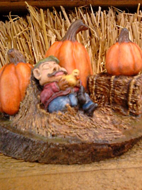 Hand carved miniature garden dwarf figurine hand carved pumpkins pumpkin patch fine art real egg art work fall home decor original sculpture