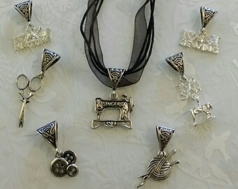 Sewing knitting necklaces pendants~black ribbon and cord necklace~sewing charms~Bronze~tibetan silver