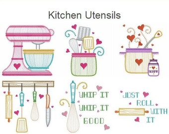Kitchen Utensils Cooking Tools Machine Embroidery Designs Instant Download 4x4 5x5 6x6 hoop 12 designs APE2062