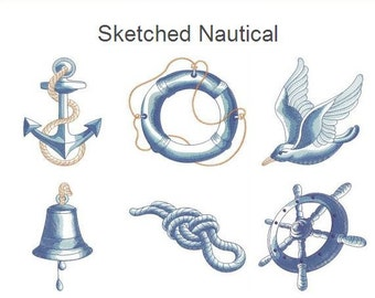 Sketched Nautical Machine Embroidery Designs Instant Download 4x4 5x5 6x6 hoop 10 designs APE2097