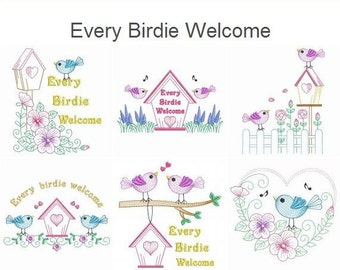 Every Birdie Welcome Embroidery Designs Instant Download 4x4 5x5 6x6 hoop 11 designs SHE5023