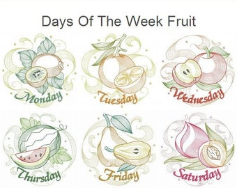Days Of The Week Fruit Machine Embroidery Designs Instant Download 4x4 5x5 6x6 hoop 7 designs APE2117