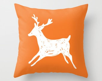 Deer Pillow Cover - Orange and White - Deer Decorative Pillow - Accent Pillow - Deer Antlers Pillow - Rustic - Cabin Decor