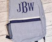 Navy Seersucker Backpack with Monogram