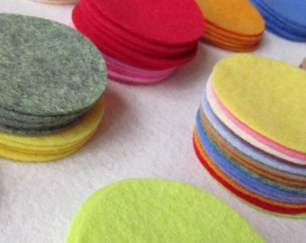 "27 Wool Felt 3"" Circle Die Cuts UPICK Colors - Penny Rug - Bow Making"