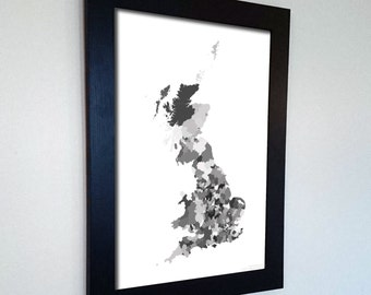Great Britain Map Print Abstract in Army Camouflage Black and White - A great talking piece for the home! England, Wales and Scotland