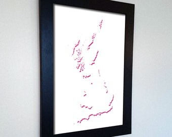 Great Britain Silhouette Map Print Abstract in Blue, Pink, Green or Black - England, Wales and Scotland, a great talking piece for the home!