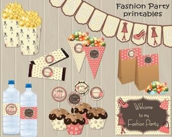 Fashion Birthday Party Theme – DIY Full Package Printable - Non-Personalized - Instant Download