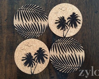 Tropical Cork Coasters 100mm D - 4 Pack