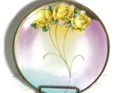Vintage Bavarian China Plate, Vintage Porcelain Plate, Tea Party, Wedding Decor, Hostess Gift, Shabby Chic, Yellow Roses with Purple