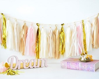Tissue Paper Tassel Garland -sparkling champagne - new years eve decoration