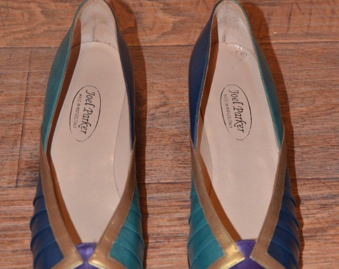 Vintage Estate Joel Parker Italy Purple Bronze Teal Blue Leather Flat Size 11
