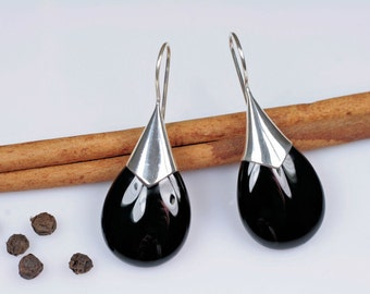 Elegant Sterling Silver Earrings with Onyx