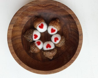 Needle Felted Woodland Acorns- White with Red Heart (Home Decor, Valentine's Day)