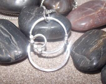 Unique solid silver circle pendant and chain