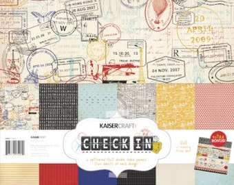 Kaisercraft Check In 12x12 Paper pack and sticker sheet