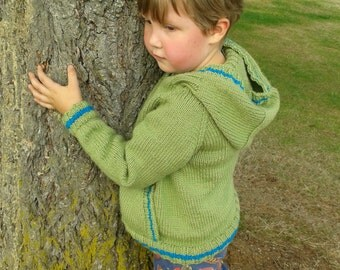 Knit Hoodie Pattern Hooded Sweater Kangaroo Jacket seamless top-down pullover with a pocket toddler child jumper Knitting PDF Download