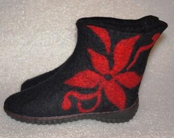 Felted boots for women. Handmade Felt shoes. Felt boots. 100% natural. Handmade shoes.