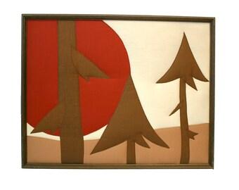 Vintage Fabric Cloth Textile Sew Wooded Forest Scene Landscape Picture Artwork 3D
